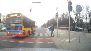 Inni stanęli przed przejściem. Kierowca autobusu przejechał na czerwonym