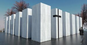 Kamienne bloki, krzyż i godło. Jest nowy projekt panteonu na Łączce