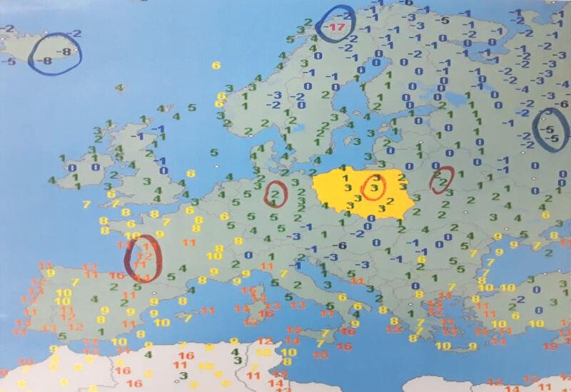 Temperatura w Europie w niedzielę rano