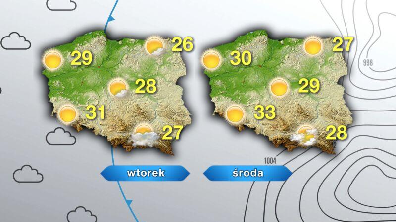 Prognoza pogody na worek i środę