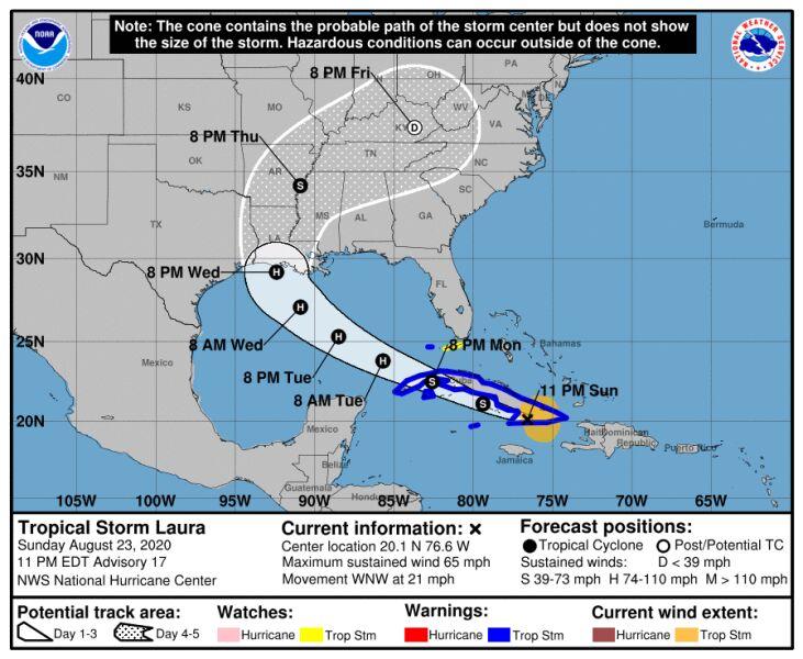 Prognozowana trasa burzy tropikalnej Laura (NHC NOAA)