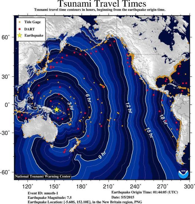 Przewidywany czas przepływu fali tsunami